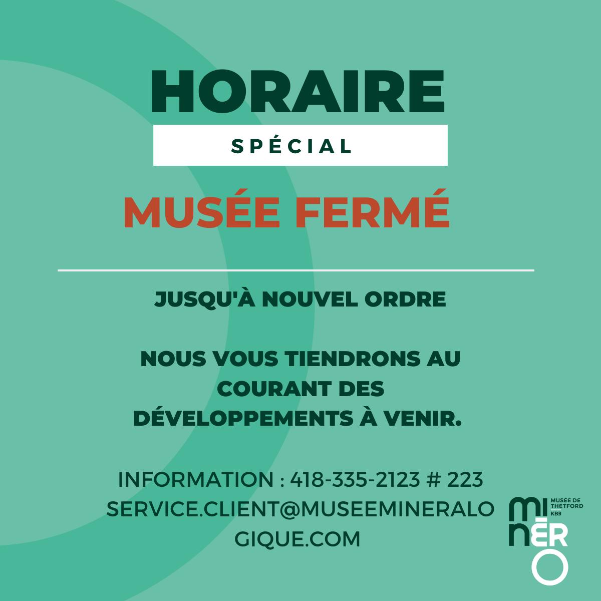 Covid19 - Fermeture temporaire du Musée Minéro